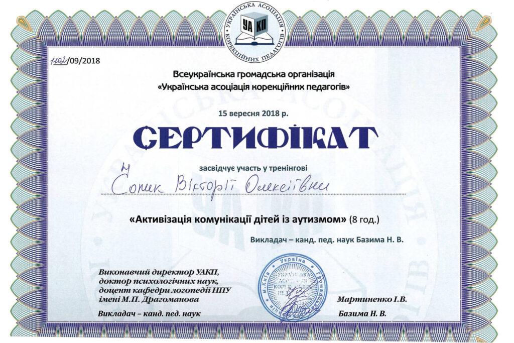 Сертифікат Вікторії Чопик про участь у тренінгу з активізації комунікації дітей з аутизмом (2018 рік) - Neuroflex