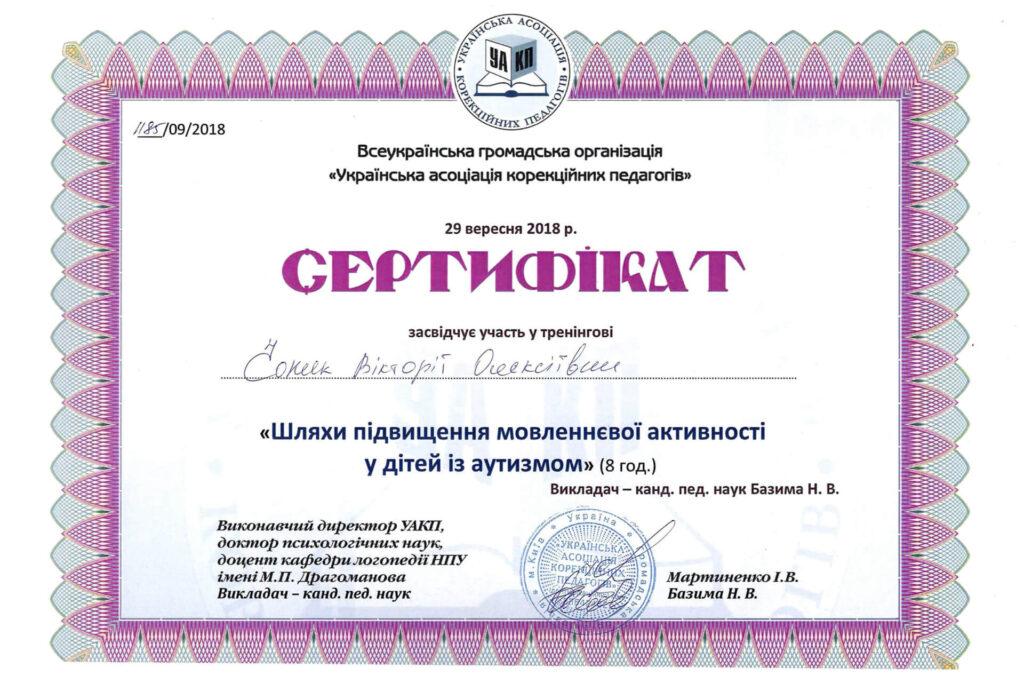 Сертифікат Вікторії Чопик про участь у тренінгу з підвищення мовленнєвої активності дітей з аутизмом (2018 рік) - Neuroflex