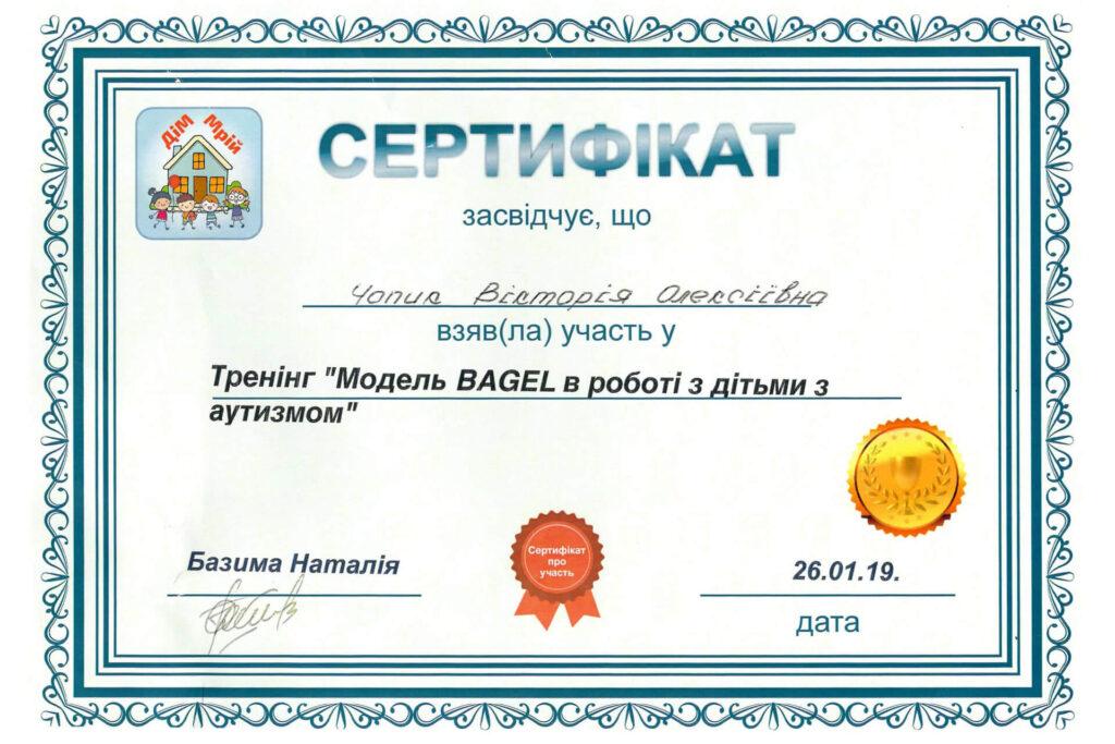 Сертифікат Вікторії Чопик про участь у тренінгу з роботи з дітьми з аутизмом (2019 рік) - Neuroflex