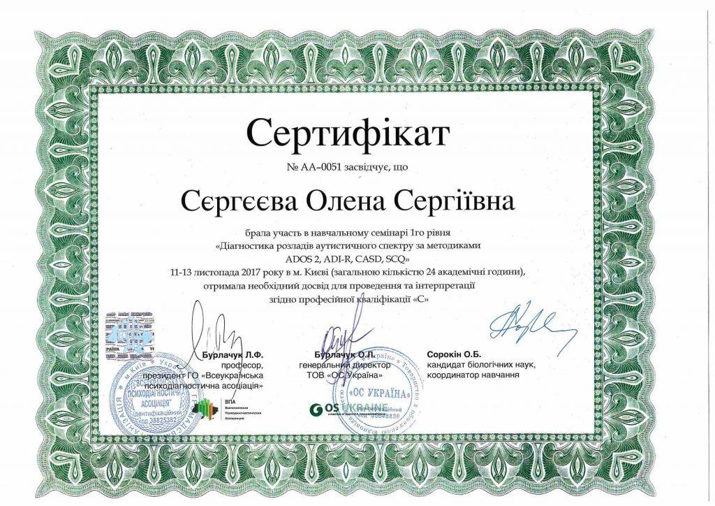Сертификат Сергеева семинар - Нейрофлекс